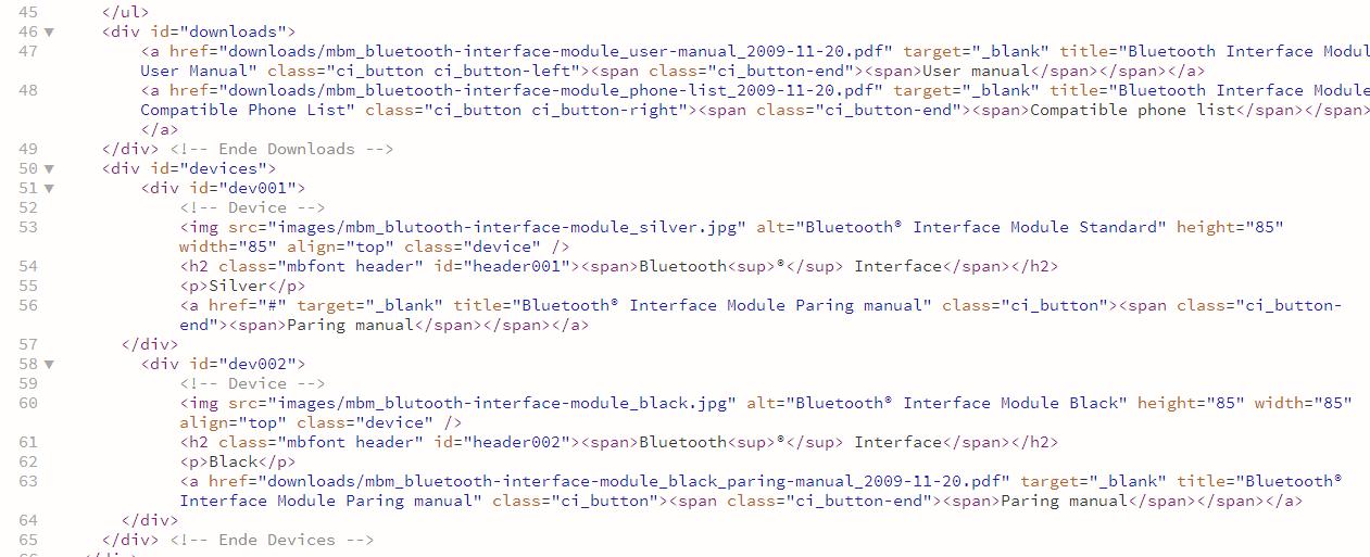 html-markup daimler
